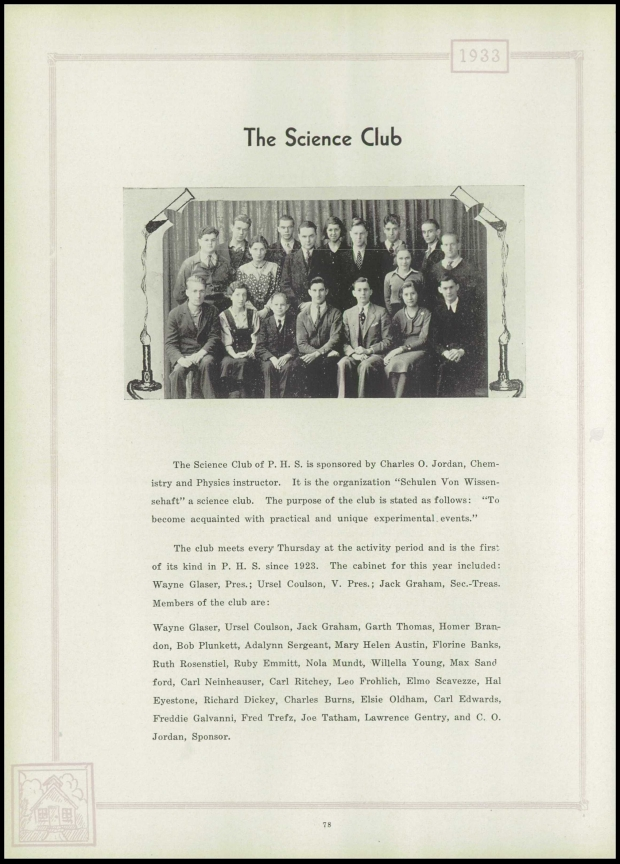 Garth 1933 science club